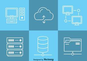 Vector de ícones de computação de dados em nuvem