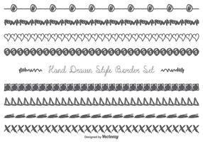 Conjunto de borda desenhada com mão desordenada vetor
