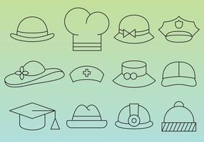 Ícones da linha do chapéu vetor