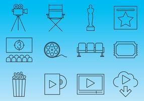 Vetores de ícones de linha de cinema