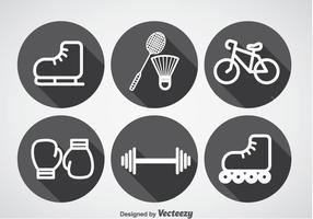Vetor de ícones de sombra longa e esportes