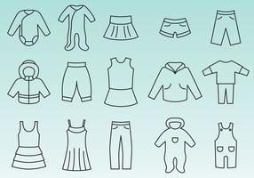Vetores de ícones de roupas infantis