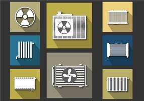 Conjunto de vetores planos do ícone do radiador