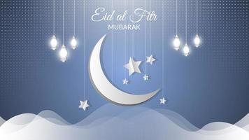lua crescente brilhante de eid al-fitr vetor