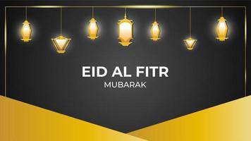 eid mubarak pendurado lanternas lanternas de ouro fundo vetor