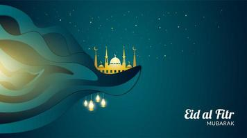 eid al-fitr com mesquita dourada em um penhasco vetor
