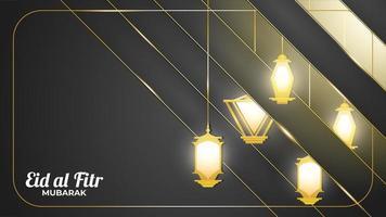 banner de eid mubarak com lanternas de ouro
