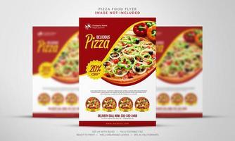 folheto de ofertas de pizza em vermelho e amarelo