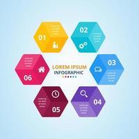 design moderno infográfico colorido hexagonal vetor