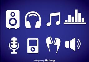 Ícones de elementos de música brancos vetor