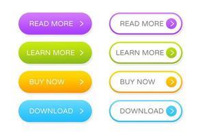 botão definido para o site vetor