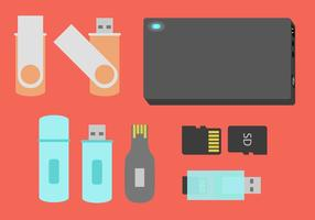 Dispositivos de armazenamento de canetas, vetor de ilustração plana