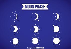 Ícones brancos da fase da lua vetor