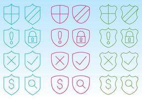 Ícones de escudo para web vetor