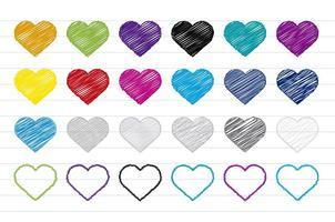 Conjunto colorido de corações de rabiscos vetor