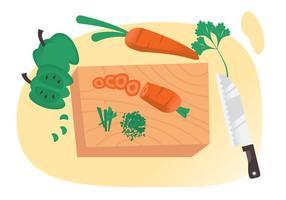Vetores cortando vegetais