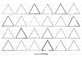 Conjunto de formas triangulares desenhadas à mão vetor