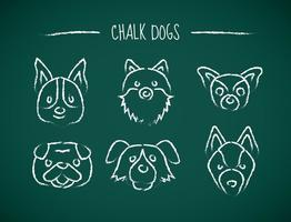 Ícones de desenho de giz dos cães vetor