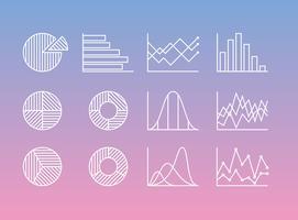 Ícones de estatísticas de linha vetor