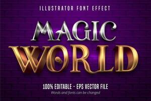 texto do mundo mágico, efeito de fonte editável do estilo metálico ouro e prata 3d