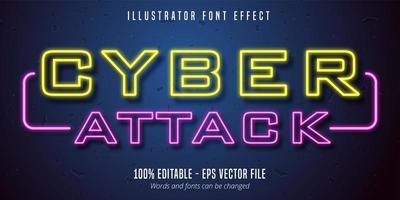 texto de ataque cibernético, efeito de fonte editável do estilo de sinalização de luzes de neon