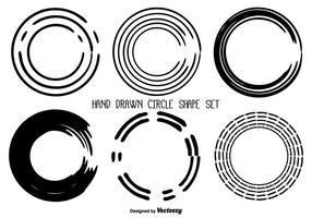 Conjunto de Forma do Círculo Desenho Desenhado à Mão vetor