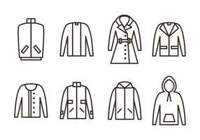 Ícones do vetor do casaco de inverno