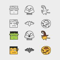 conjunto de ícones de halloween em branco vetor