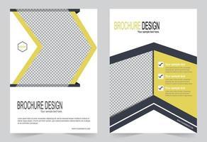 modelo de design de folheto amarelo e cinza vetor