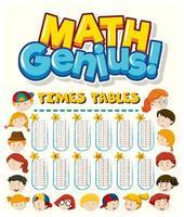 gráficos de tabuada de matemática com crianças dos desenhos animados vetor