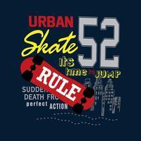 skate urbano tipografia camisa gráfico vetor