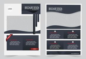 conjunto de modelo de folheto cinza e vermelho vetor