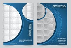 conjunto de capa brochura design círculo azul vetor