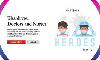 obrigado heróis médicos covid-19 banner design vetor