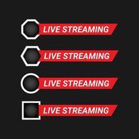conjunto de elementos de design de transmissão ao vivo vetor