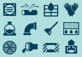 Vetores do ícone do sistema de esgoto