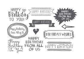Conjunto de etiquetas de aniversário com estilo desenhado à mão vetor