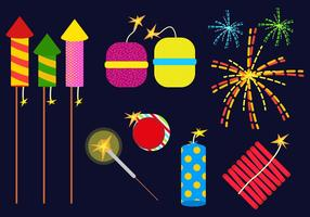 Crackers de fogo set illustration vector
