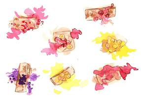 Conjunto de vetores pintados à mão com crepes