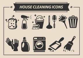 Ícones do vetor da limpeza da casa