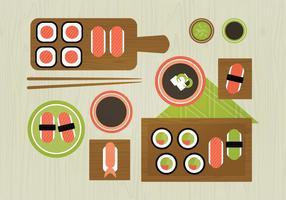 Ilustração de comida de sushi vetorial vetor
