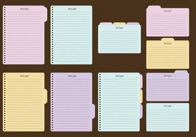 Folhas de receitas e vetores de cartas