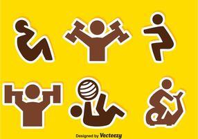 Ícones de etiqueta de exercício de pessoas vetor