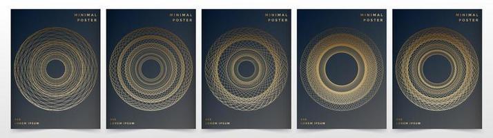 coleção de cartaz de design circular dourado vetor
