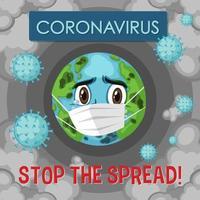 o coronavirus para o cartaz da propagação do globo