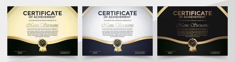 conjunto de certificado preto e dourado vetor