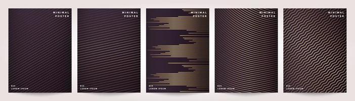 capa mínima em ouro linha abstrata padrão para conjunto de design de cartaz vetor