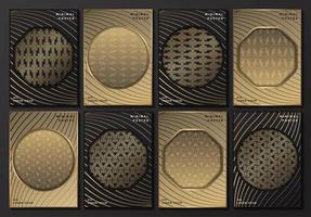 cartazes cinza e dourados com molduras geométricas vetor
