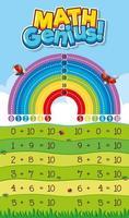planilha de adição matemática gênio design vetor