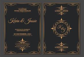 modelos de convite dourado vintage de luxo vetor